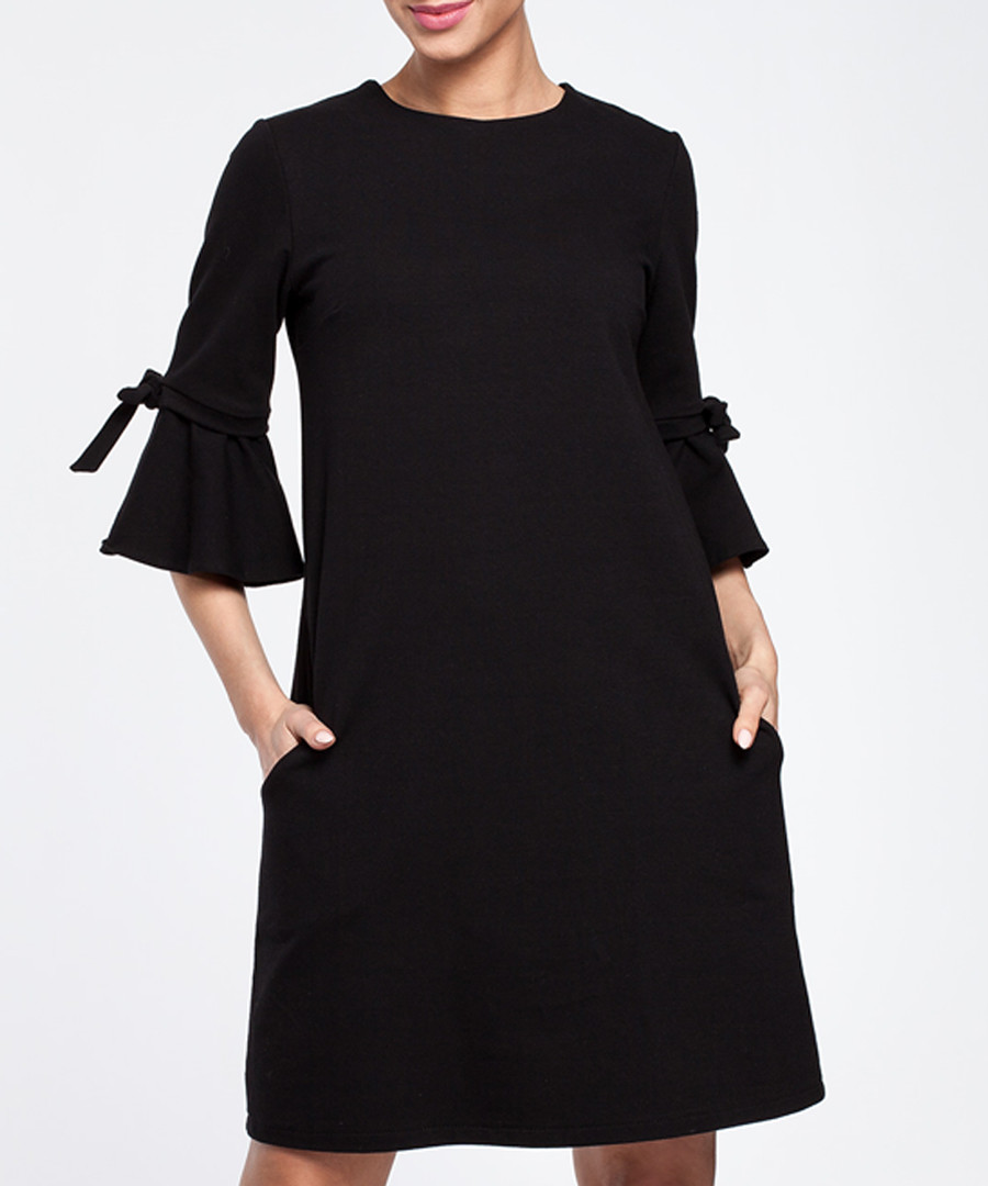 Black cotton blend flared sleeve dress Sale - made of emotion