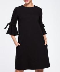 Black cotton blend flared sleeve dress