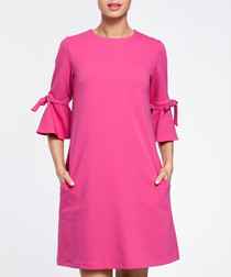Fuchsia cotton blend flared sleeve dress
