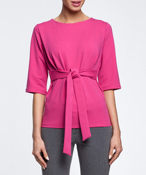 Fuchsia cotton blend tie waist top