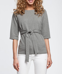 Grey cotton blend tie waist top