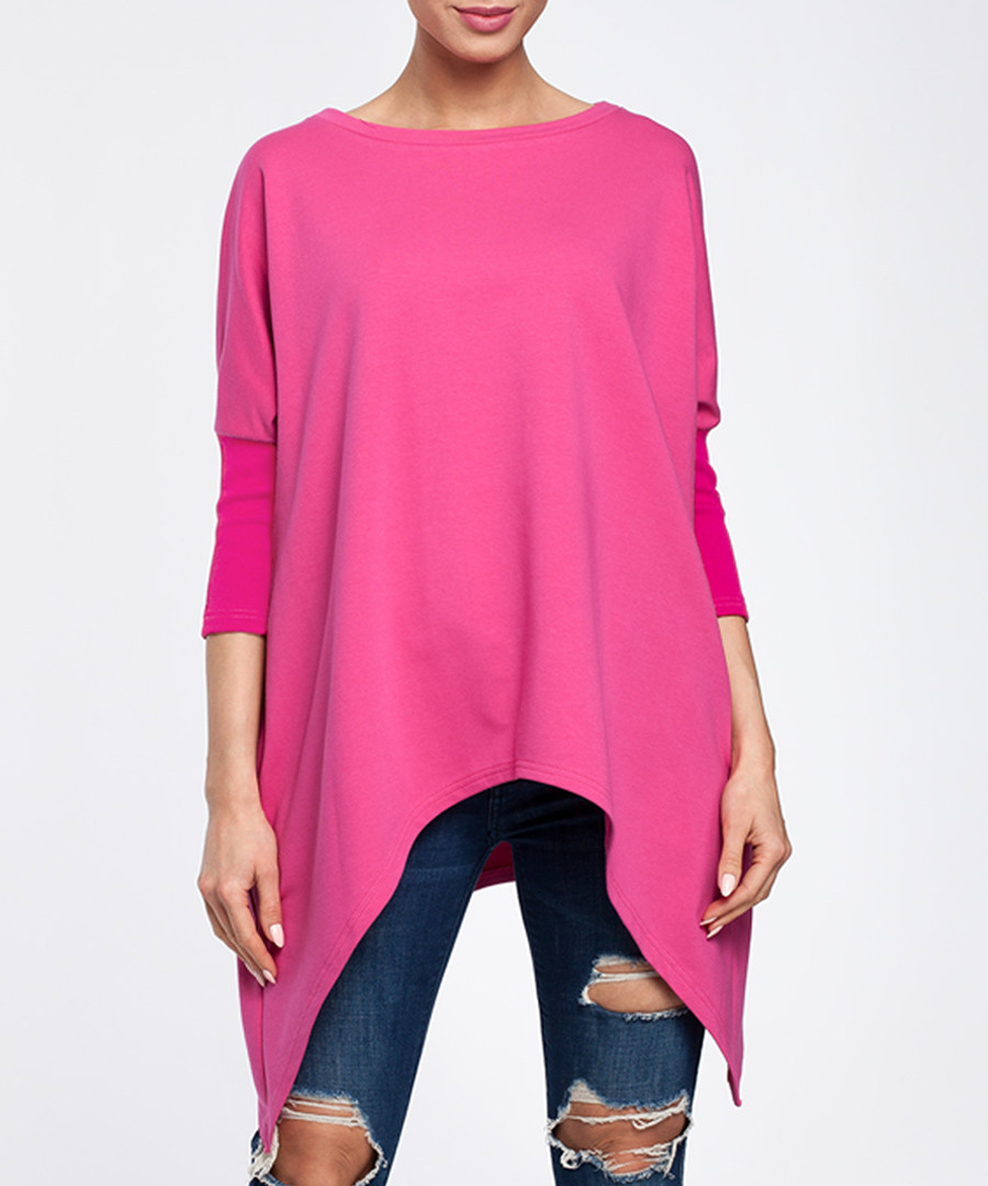 Fuchsia cotton blend asymmetric hem top Sale - made of emotion