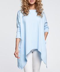 Blue cotton blend asymmetric hem top