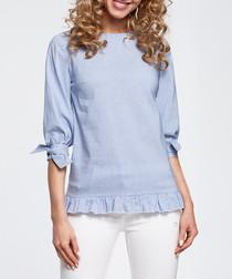 Blue frill hem blouse