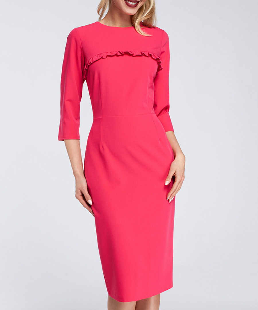 Fuchsia ruffle trim detail midi dress Sale - made of emotion