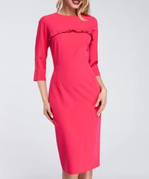 Fuchsia ruffle trim 3/4 sleeve dress