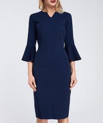 Navy bell sleeve mini V-neck dress