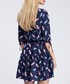Navy feather print tiered mini dress Sale - made of emotion Sale