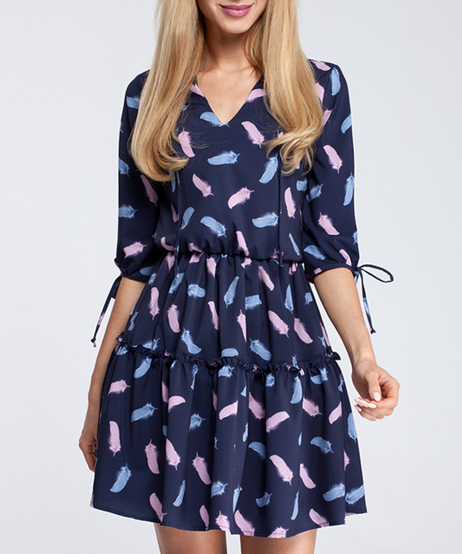 Navy feather print tiered mini dress Sale - made of emotion