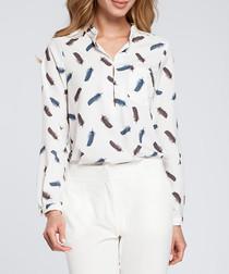 White printed long sleeve shirt