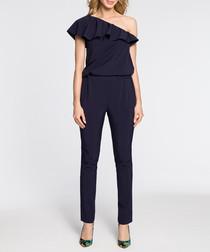Navy asymmetrical ruffle jumpsuit