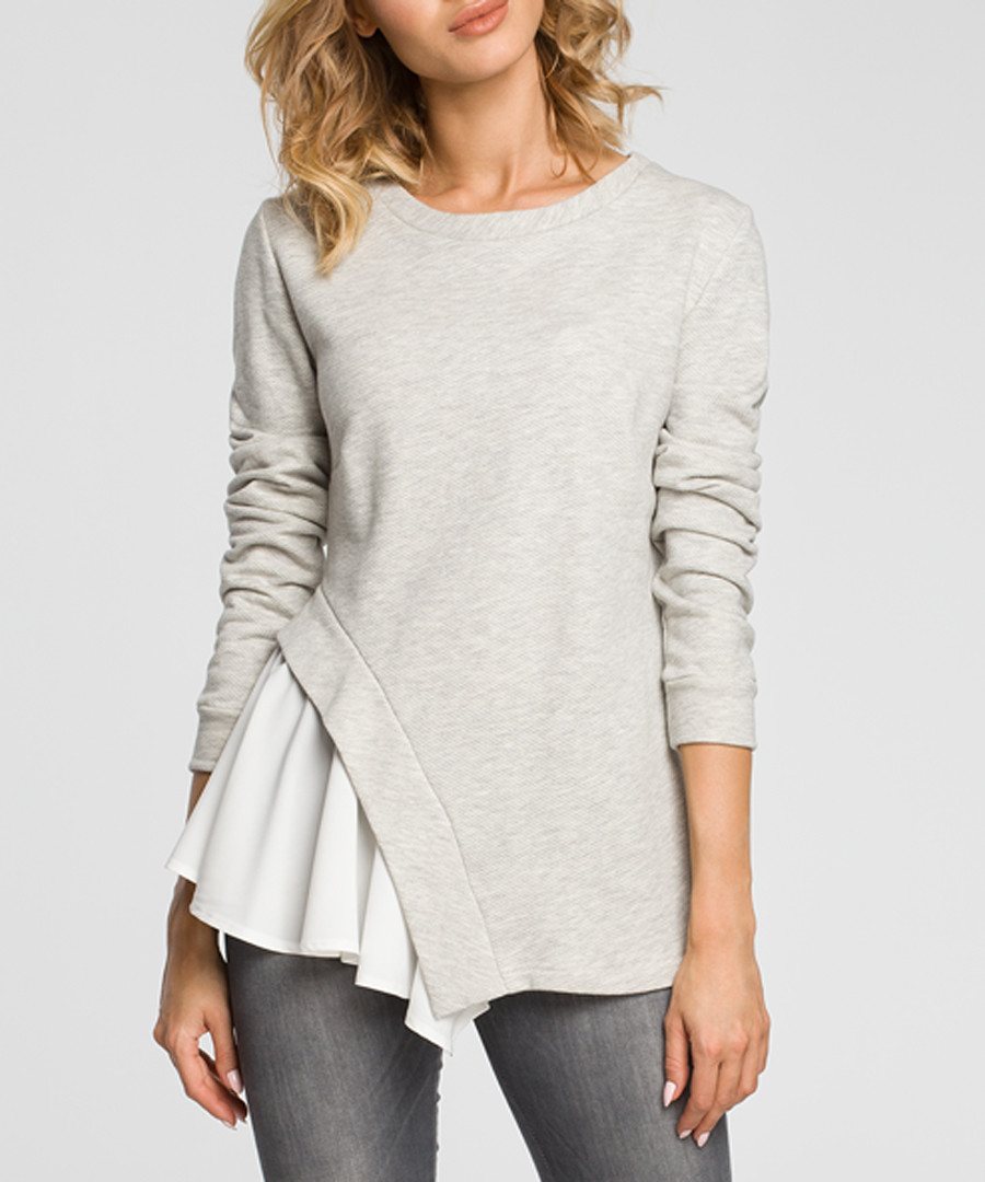 Light grey cotton blend frill detail top Sale - made of emotion
