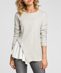 Light grey cotton blend frill detail top
