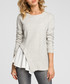 Light grey cotton blend frill detail top Sale - made of emotion Sale