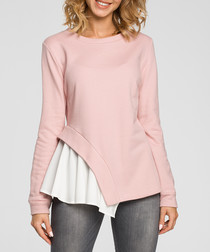 Powder cotton blend frill detail top