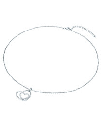 Rhodium-plated heart necklace