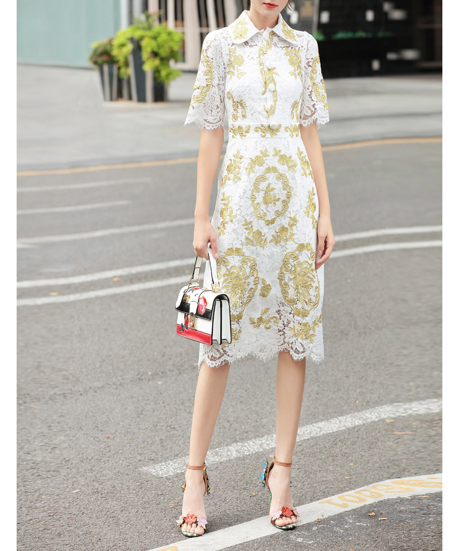 White & gold printed knee-length dress Sale - BURRYCO