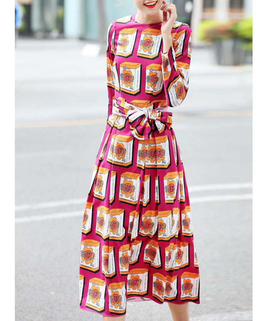 Crimson printed knee-length dress Sale - BURRYCO