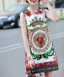White & red cotton blend print dress