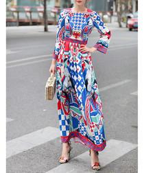 Blue & red cotton blend maxi dress