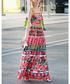 Pink & red cotton blend rose sun dress Sale - BURRYCO Sale