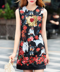 Black & red rose print mini dress