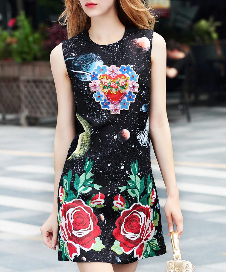 Black & red rose print mini dress Sale - BURRYCO