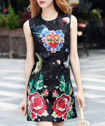 Black & red rose print mini dress