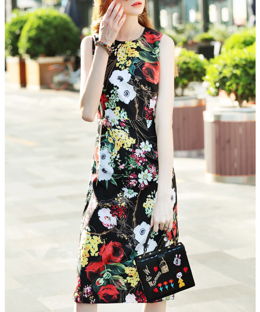 Black & red rose print mid-length dress Sale - BURRYCO