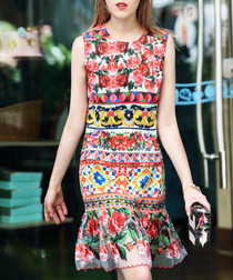 Red & yellow rose print dress