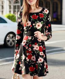 Black & red cotton blend rose dress