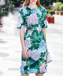 Green & white cotton blend print dress