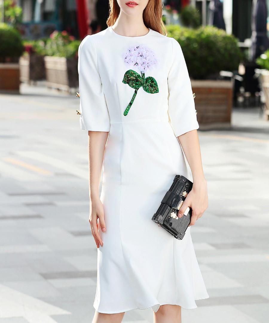 White & green cotton blend flower dress  Sale - BURRYCO