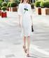White & green cotton blend flower dress  Sale - BURRYCO Sale