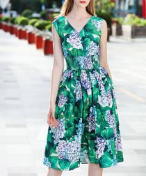 Green cotton blend flower dress
