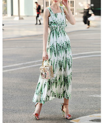 White & green cotton blend sun dress