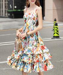 Multi-coloured cotton blend dress