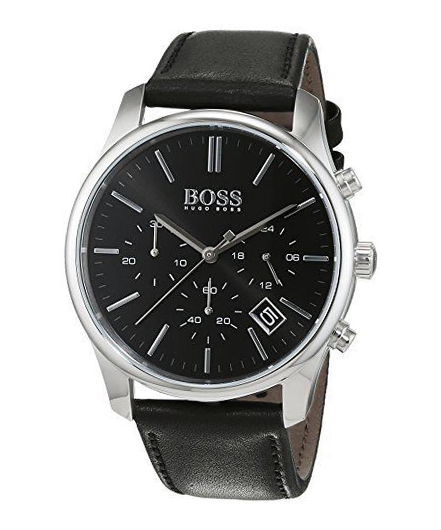 Black & silver-tone leather strap watch Sale - hugo boss