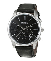 Black & silver-tone leather strap watch