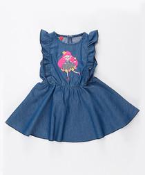 Girl's Fairy navy ruffled denim dress