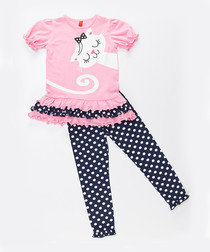2pc Girl's Upside Down Cat cotton set