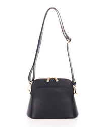 Black & gold-tone leather cross body