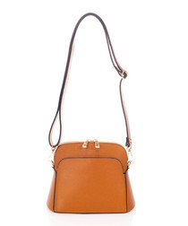 Brown & gold-tone leather cross body