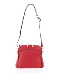 Red & gold-tone leather cross body