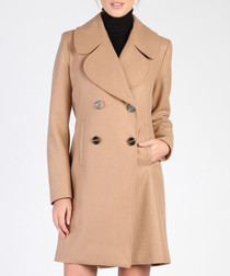 Camel wool blend double breasted coat