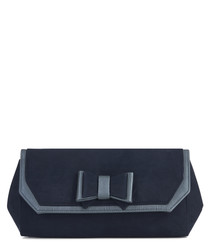 Brighton navy bow trapeze clutch