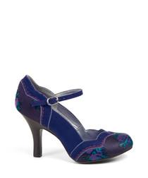 Imogen blue floral scalloped heels