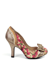 Amy gold & pink floral print heels