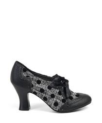 Daisy black polka dot lace-up heels
