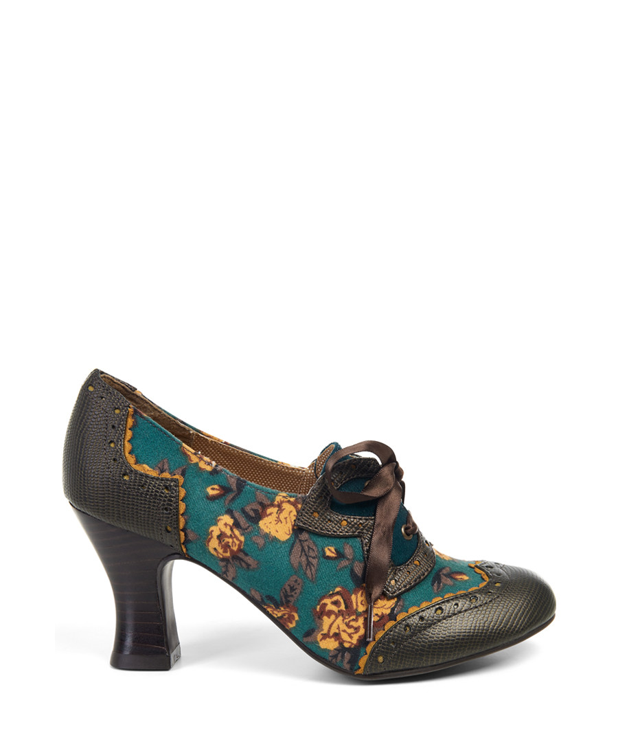 Daisy teal & mustard lace-up heels Sale - ruby shoo